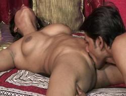 Stud licks indian pussy before she suck his candy